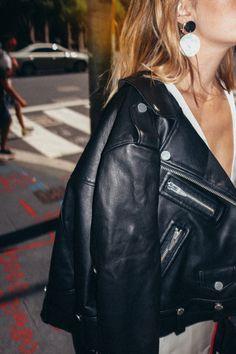earrings & moto jacket | @andwhatelse