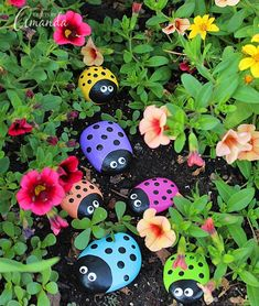 Learn to make these adorable ladybug painted rocks. use special outdoor paint for this adorable garden craft so you can keep garden ladybugs all summer! #Gardens #Gadens