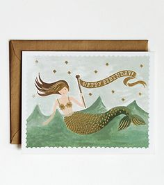 Vintage Mermaid Birthday Card. Love all these cards