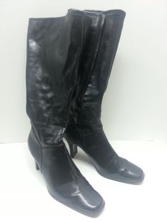"15""  Black Knee-High Boots Size 8.5 Faux Leather Vegan  New #KarenScott #FashionKneeHigh #Casual"