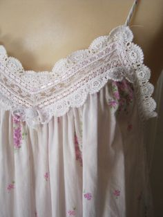 Your place to buy and sell all things handmade Bunch Of Flowers, Little Flowers, Skinny Spaghetti, Cotton Nighties, Cotton Crochet, Nightwear, Night Gown, Christian Dior, Lace Trim