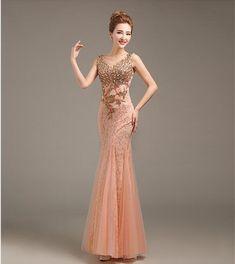 Fleepmart Robe de soiree 2020 V-Neck Beaded Long with Appliques gowns Mermaid Evening Dresses vestido de festa prom dresses party dresses