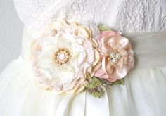 Wedding Dress Floral Ribbon Sash - Blush Pink, Ivory and Cream Fabric Flowers with Pearls
