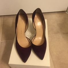 """Charlotte Olympia Bordeaux suede pumps """"The Lady is a Vamp"""" suede pumps.. Worn 3 times purchased in summer 2015 Charlotte Olympia Shoes Heels"""