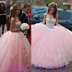 2015 Modest Ball Gown Sweetheart Long Tulle Beading Quinceanera Dress Pink Sweet 15 Dresses - Thumbnail 2