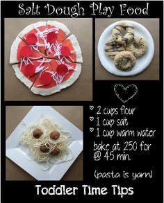 Salt dough play food Great projects for toddlers, preschoolers.  For more amazing ideas and kid crafts  go to Toddler Time Tips @ https://www.facebook.com/toddlertimetips