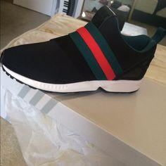 e24467cff11d7 Adidas Shoes - Custom Gucci Adidas Zx Flux Slip on sneakers https   poshmark