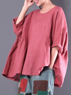 Casual Women 3/4 Sleeve Round Neck Solid Color Blouse