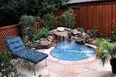 Swimming Pool Design for Home. We are collecting awesome swimming pool design for your home sweet home. Hot Tub Backyard, Backyard Pool Landscaping, Backyard Pool Designs, Small Backyard Landscaping, Backyard Ideas, Landscaping Ideas, Small Swimming Pools, Small Pools, Swimming Pool Designs