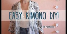 In this DIY sewing tutorial, learn how to sew an easy Kimono Robe using an upcyled sarong or wrap. You can also use regular fabric but taking advantage of th. Tutorial Kimono, Kimono Diy, Kimono Shrug, Kimono Jacket, Easy Sewing Projects, Sewing Projects For Beginners, Sewing Tutorials, Sewing Patterns, Sewing Tips
