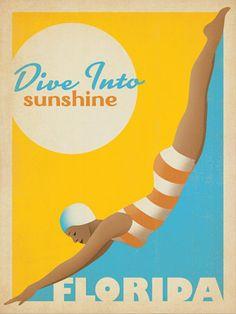 Dive into Sunshine Florida vintage travel poster