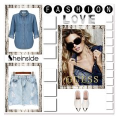 """Denim Skirt"" by ramiza-rotic ❤ liked on Polyvore featuring Miss Selfridge, GUESS and Miu Miu"