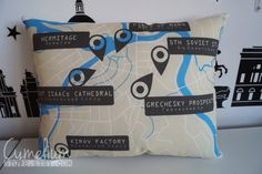 The Bronze Horseman pillow map - Leningrad - Tatiana and Alexnader locations Sura and Tatia, Alexander Barrington. FOR SALE!