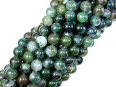 Name: Moss Agate Shape: Round Size: Approx 8 mm, 15.5 Inch, Full strand, Approx 49 beads, Hole 1 mm Color: Green Quality: AB  Size and Color may vary