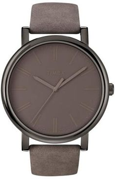 Timex(R) 'Easy Reader' Leather Strap Watch, 42mm