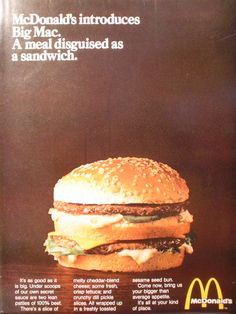 1969 Ad McDonalds introduces the Big Mac