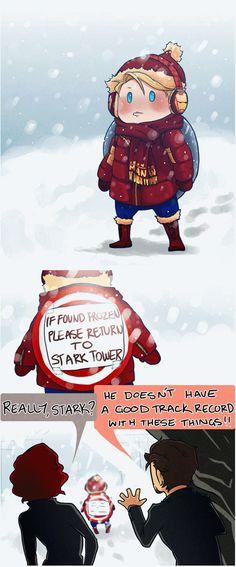 If found frozen please return to Stark Tower-hahaha Steve Rogers(Captain America) and Tony Stark(Iron Man) and a little bit of Natalia Romanova (Black Widow)