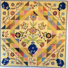 Joy Quilt by Irene Blanck Medallion Quilt, Sampler Quilts, Blanket Stitch, Mini Quilts, Applique Quilts, Quilt Making, Quilt Patterns, Floral Quilts, Scrap
