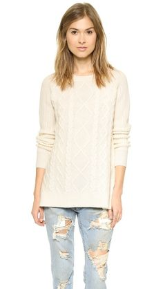 Madewell Placed Cable Boxy Pullover