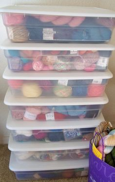 Keep yarn organized with these clear, plastic containers. How do you keep your yarn stash neat and tidy?