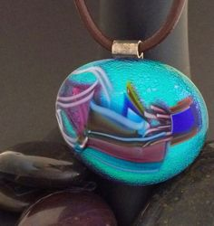Teal Blue Purple Dichroic Glass Pendant with by 3DGlassDesigns