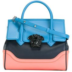 Versace 'Palazzo Empire' bag (7.810 BRL) ❤ liked on Polyvore featuring bags, handbags, multicolor, multicolor handbags, versace, colorblock handbags, blue handbags and multi colored handbags