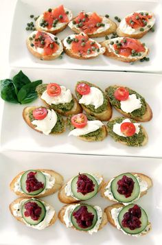 Delish ways to serve crostini  1.smoke salmon+creme cheese+capers  2.basil pesto+mozzarella+cherry tomatoes  3.goat cheese+creme cheese+cucumbers+dried cranberries