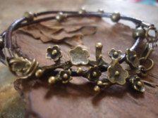 Wrap in Bracelets - Etsy Jewelry: Rose Branch Leather & Bronze Bracelet