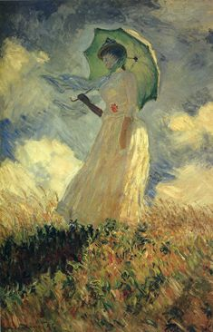 Woman with a Parasol (also known as Study of a Figure Outdoors (Facing Left)) - Claude Monet