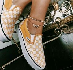 Slip on LV Vans gold n white cute custom shoes Dr Shoes, Me Too Shoes, Shoes Sneakers, Sock Shoes, Shoe Boots, Cute Vans, Custom Shoes, Custom Slip On Vans, Shoe Game