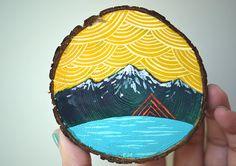 Mini painting on cedar