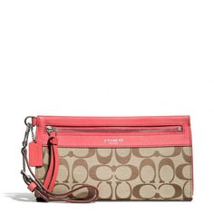 The Legacy Large Wristlet In Signature Fabric, COLOR: SILVER/KHAKI/LOVE RED from Coach STYLE NO. 50956 $98