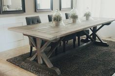 Made to Order 108 inch X Style Farmhouse Trestle Table