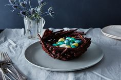 "Every week, baking expert Alice Medrich will be going rogue on Food52—with shortcuts, hacks, and game-changing recipes. Today: A centerpiece for your Easter table that you can admire and devour. A basket constructed of chocolate-coated pretzel ""twigs"" makes a super easy but wildly impressive centerpiece. Fill it with rabbits and chicks, assorted Easter candies, or stemmed strawberries. At the end of the party, invite guests to break and devour the basket. Chocolate Pretzel Basket Adapted…"