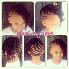 Cornrow And Twists Updo Combo Style - @hairbydare - http://www.blackhairinformation.com/community/hairstyle-gallery/kids-hairstyles/cornrow-twists-updo-combo-style-hairbydare/ #kidshair #cornrows #twists
