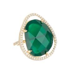 Marcia Moran Green Onyx & CZ Cocktail Ring at HAUTEheadquarters.com