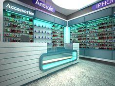 Mobile shop Visualization on Behance Cell Phone Store, Phone Shop, Mobile Shop Design, Android Secret Codes, S Logo Design, Shop Logo, 3ds Max, Krishna, Behance