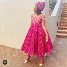 Latest South Sotho Shweshwe Styles Picture 2019 - Our Nail African Attire, African Fashion Dresses, African Dress, African Wear, African Style, Ankara Gowns For Wedding, Wedding Dresses South Africa, African Traditional Wear, Traditional Fashion