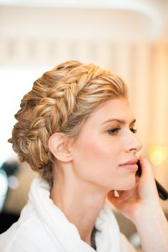 Braided crown: http://www.stylemepretty.com/2014/09/11/library-inspired-wedding/ | Photography: Photo Pink - http://www.photopink.com/