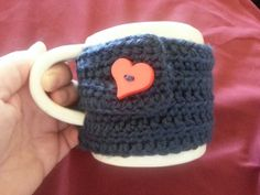 Mug Hug Cozy Blue With Red Heart Button by BubblesOfDeath on Etsy, $4.00