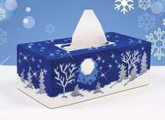 It s a starry night in this winter wonderland plastic canvas kit