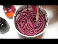 Pink & Black Water Marble Nail Art Tutorial - YouTube