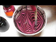 Pink & Black Water Marble Nail Art Tutorial - YouTube