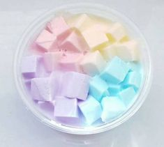 a beautiful white based yellow, pink,purple,blue (pastel) coloured jelly cube slime! a super pretty, photogenic slime! perfect for gifts! Le Slime, Slimy Slime, Slime Uk, Jelly Slime, Borax Slime, Diy Crafts Slime, Slime Craft, Slime Pictures, Glitter Wallpaper Iphone