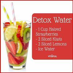 Detox Water Strawberries Kiwis Lemon