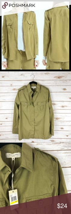 max studio // oversized fatigue army shirt jacket The fabric is soft, the silhouette is super: if you buy this cargo shirt jacket then you will wear it constantly! The soft woven tencel fabric has a velvety touch and will get softer with each wear. Femmy military touches like shoulder epaulets and front flap pockets keep the trend. Wear open as a lightweight jacket or zip-it closed. The fit is slightly relaxed like shown. New with tag, but there's a teeny hole above left breast pocket as…