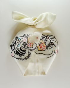 Tiger VS Panther Embroidered hair band // hair scarf // hair wrap.