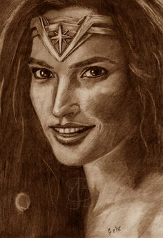Freehand sketch of Gal Gadot as Wonder Woman using HB pencil and eraser. Darkened and tinted digitally. Comic Book Heroes, Comic Books, Gal Gadot, Pencil, Sketches, Wonder Woman, Comics, Drawings, Comic Strips