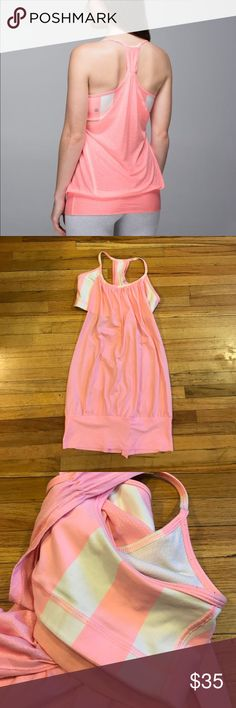 "Lululemon Pig Pink No limits Stripe 6 Great condition with minimal pilling. I believe it's ""pig pink"" with white stripes. Size 6 no pads but has the slots for them. lululemon athletica Tops Tank Tops"