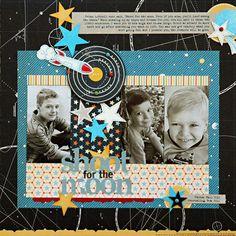 #papercraft #scrapbook #layout   little boy rockets scrapbook layout  -kelly goree - masculine, 3 pics